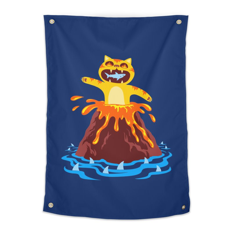 Volcano Cat Home Tapestry by Lupi Art + Illustration