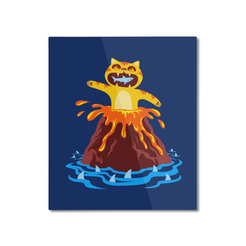Volcano Cat Home Mounted Aluminum Print by Lupi Art + Illustration