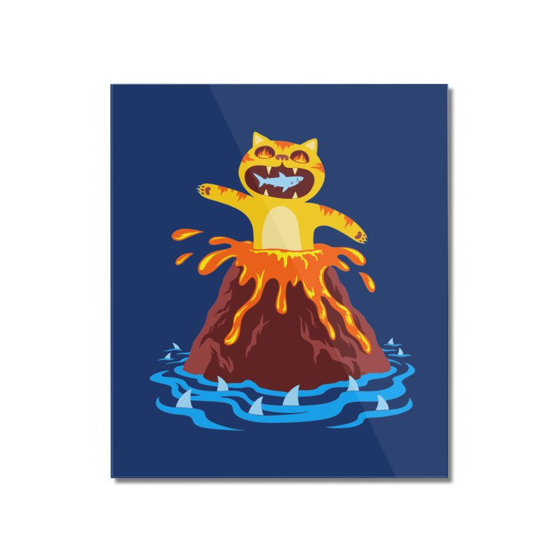 Volcano Cat Home Mounted Acrylic Print by Lupi Art + Illustration