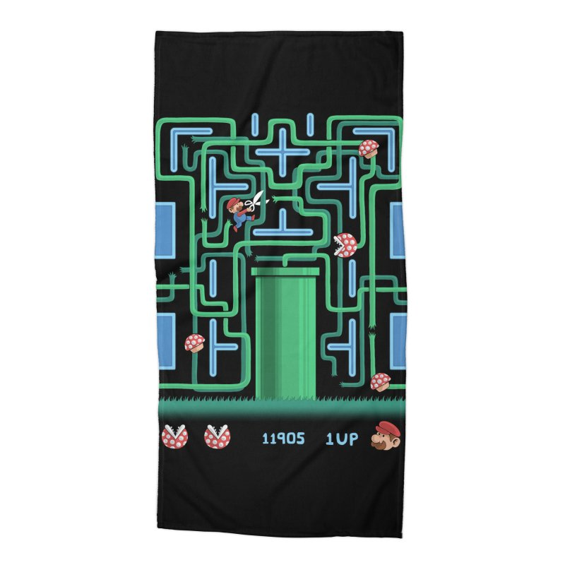 Pac-Mario Accessories Beach Towel by Lupi Art + Illustration