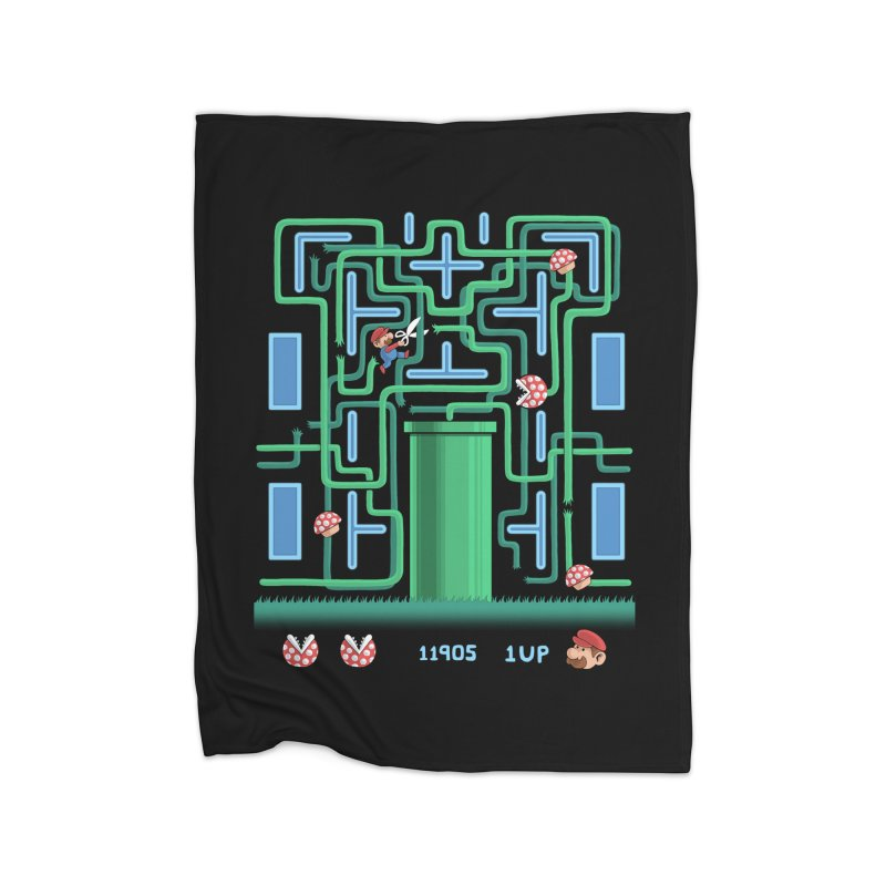 Pac-Mario Home Fleece Blanket by Lupi Art + Illustration