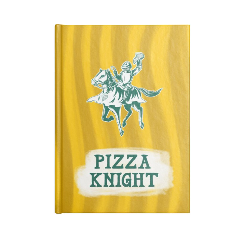 Pizza Knight with Text Accessories Lined Journal Notebook by Lupi Art + Illustration