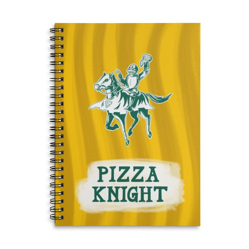 Pizza Knight with Text Accessories Lined Spiral Notebook by Lupi Art + Illustration