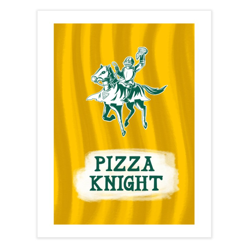 Pizza Knight with Text Home Fine Art Print by Lupi Art + Illustration