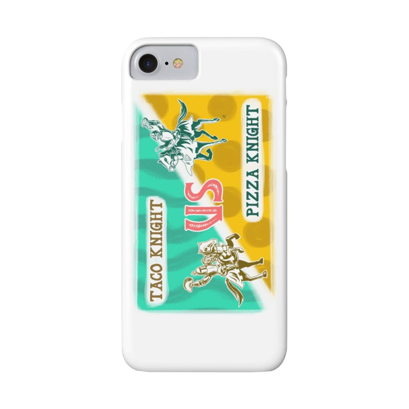 Taco Knight vs Pizza Knight with text Accessories Phone Case by Lupi Art + Illustration