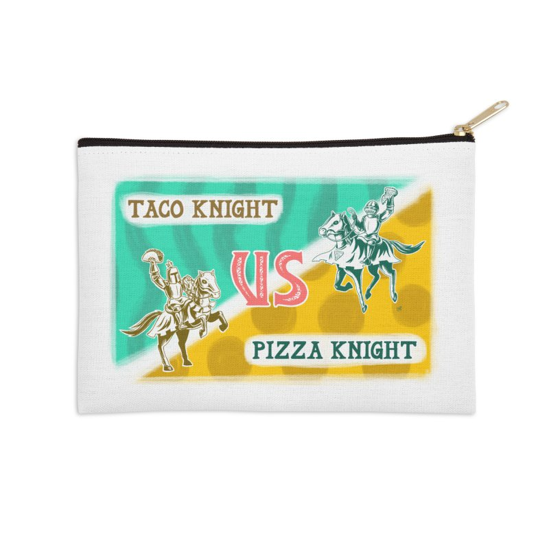 Taco Knight vs Pizza Knight with text Accessories Zip Pouch by Lupi Art + Illustration