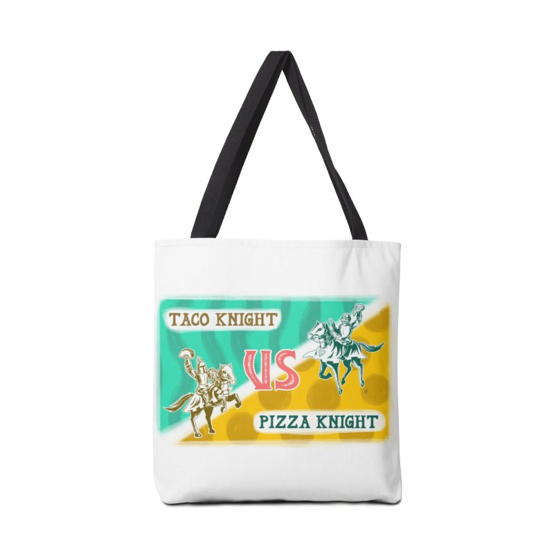 Taco Knight vs Pizza Knight with text Accessories Tote Bag Bag by Lupi Art + Illustration