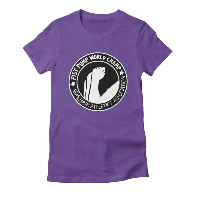 Fist Pump World Champ Women's Fitted T-Shirt by Lupi Art + Illustration