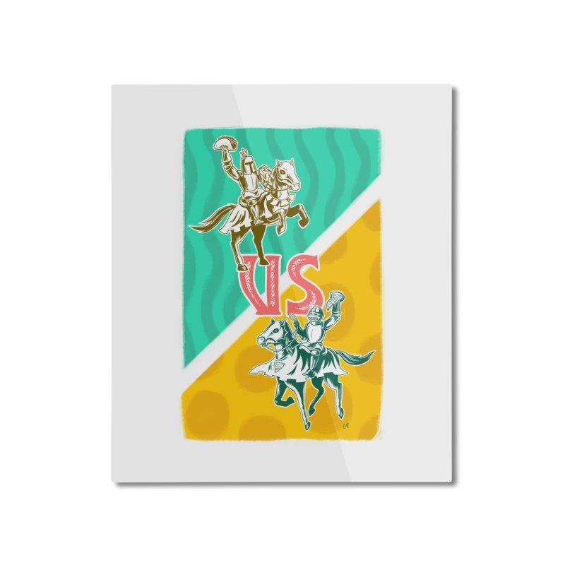 Taco Knight vs. Pizza Knight Home Mounted Aluminum Print by Lupi Art + Illustration