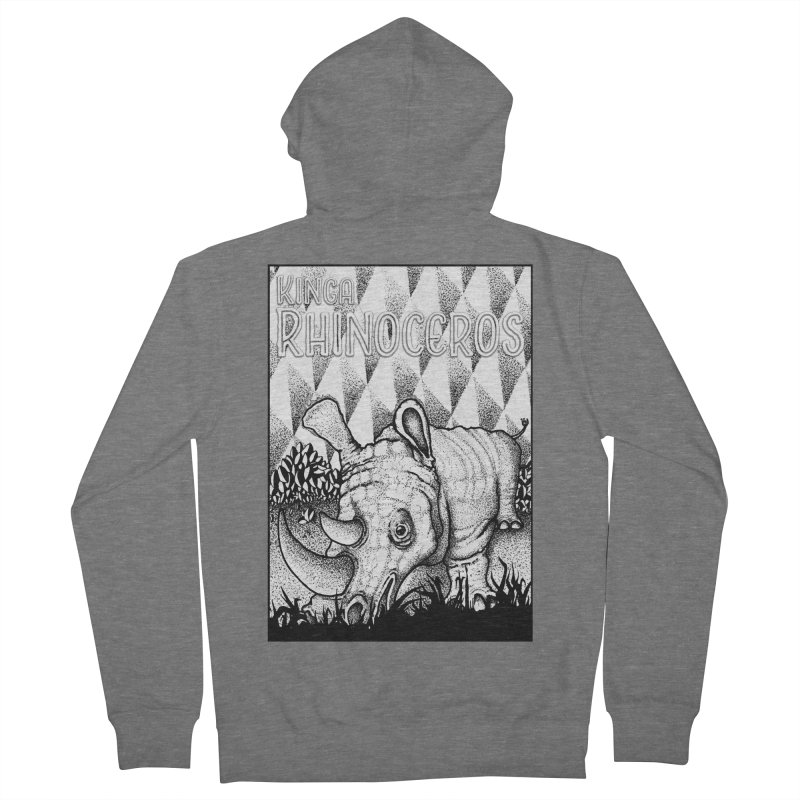 Kinga Rhinoceros Men's French Terry Zip-Up Hoody by MD Design Labs's Artist Shop