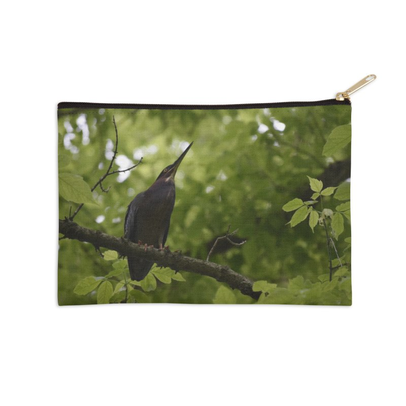 Green Heron at Herrington Harbour North Accessories Zip Pouch by MD Design Labs's Artist Shop