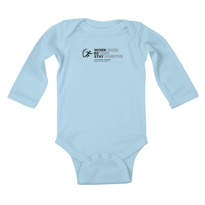 Work Hard/Be Kind (update) Kids Baby Longsleeve Bodysuit by Max Effort Training