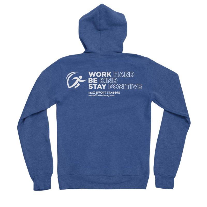 Work Hard/Be Kind - White (update) Women's Zip-Up Hoody by Max Effort Training