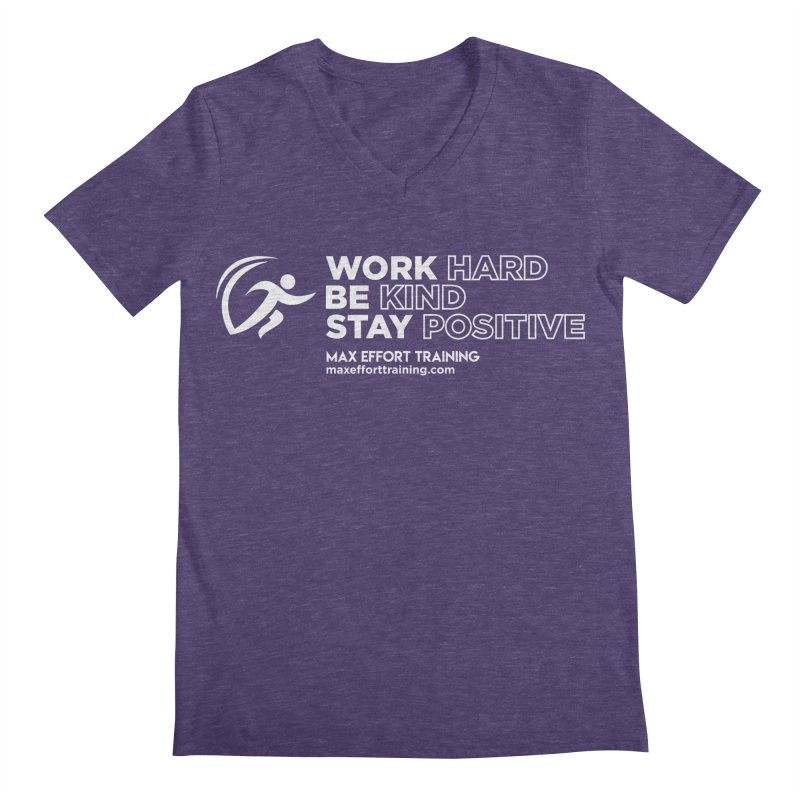 Work Hard/Be Kind - White (update) Men's Regular V-Neck by Max Effort Training
