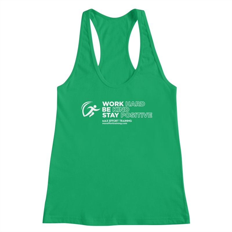 Work Hard/Be Kind - White (update) Women's Tank by Max Effort Training