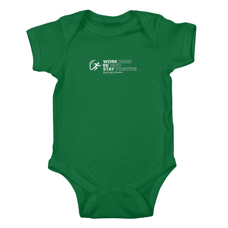 Work Hard/Be Kind - White (update) Kids Baby Bodysuit by Max Effort Training