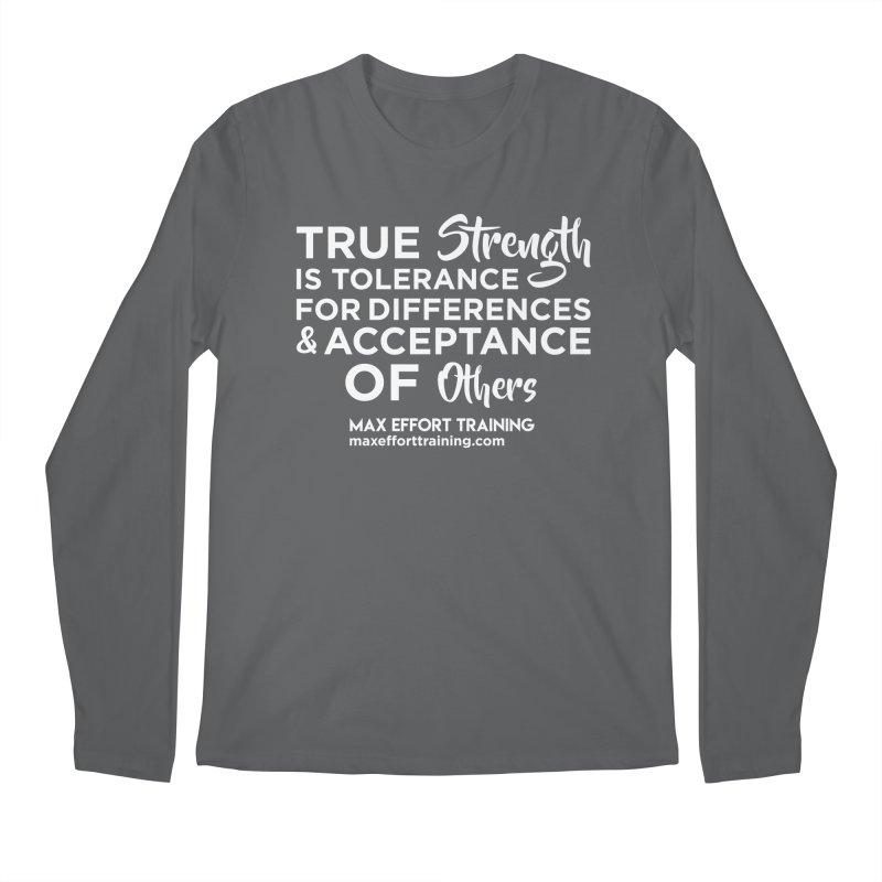 True Strength (White) Men's Longsleeve T-Shirt by Max Effort Training
