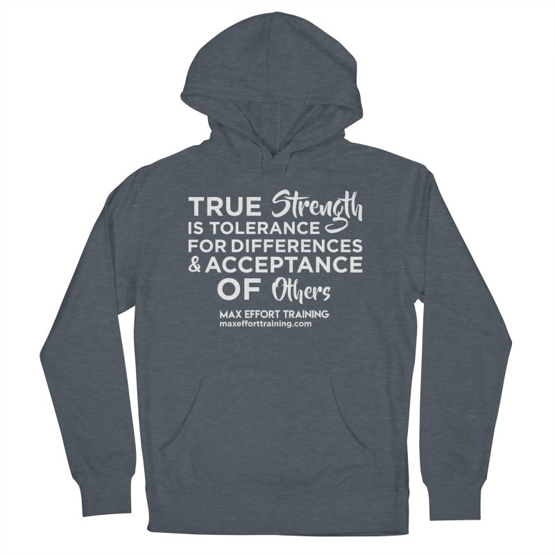 True Strength (White) Men's French Terry Pullover Hoody by Max Effort Training