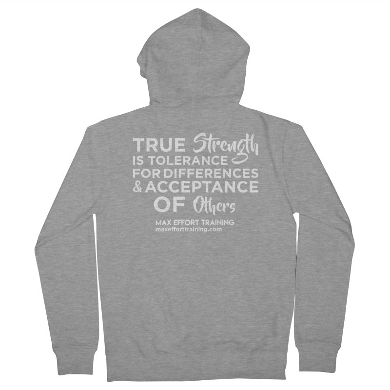 True Strength (White) Men's French Terry Zip-Up Hoody by Max Effort Training