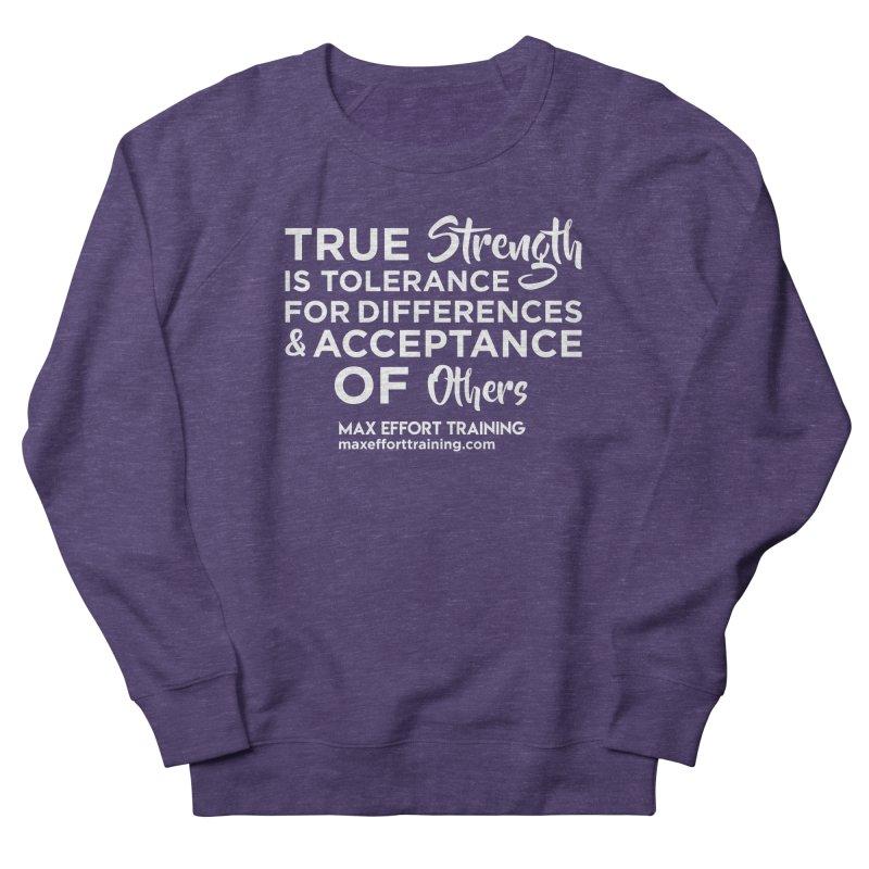 True Strength (White) Women's French Terry Sweatshirt by Max Effort Training