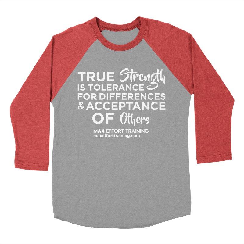 True Strength (White) Men's Baseball Triblend Longsleeve T-Shirt by Max Effort Training