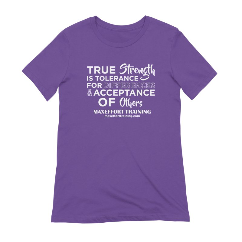 True Strength (White) Women's Extra Soft T-Shirt by Max Effort Training