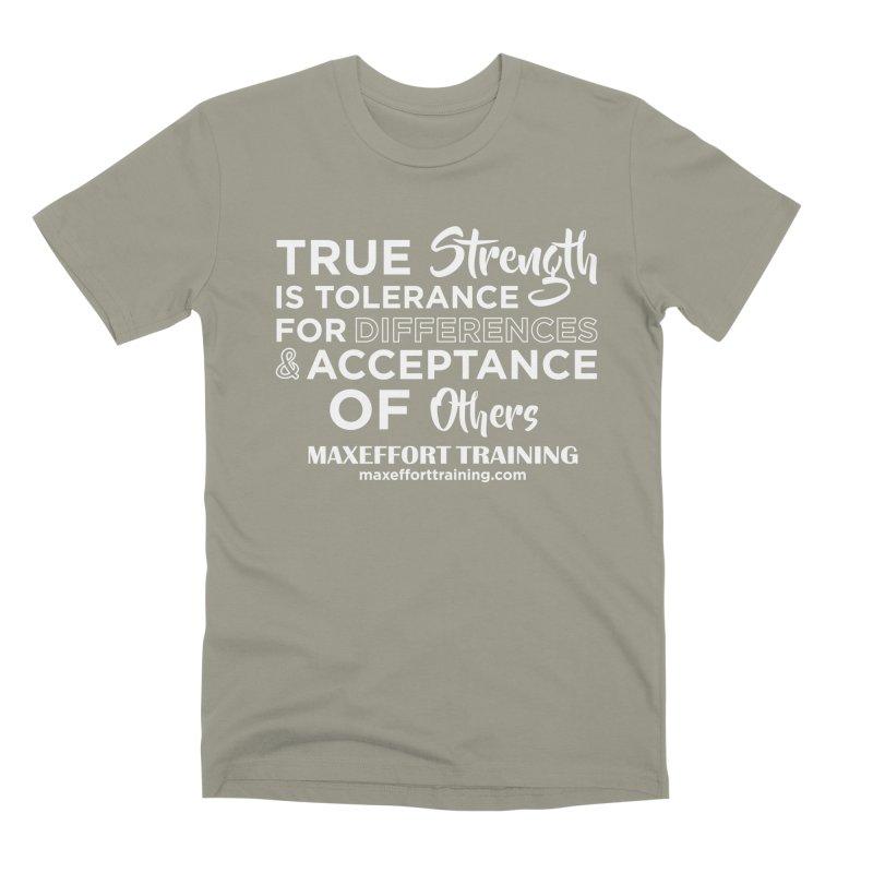True Strength (White) Men's Premium T-Shirt by Max Effort Training