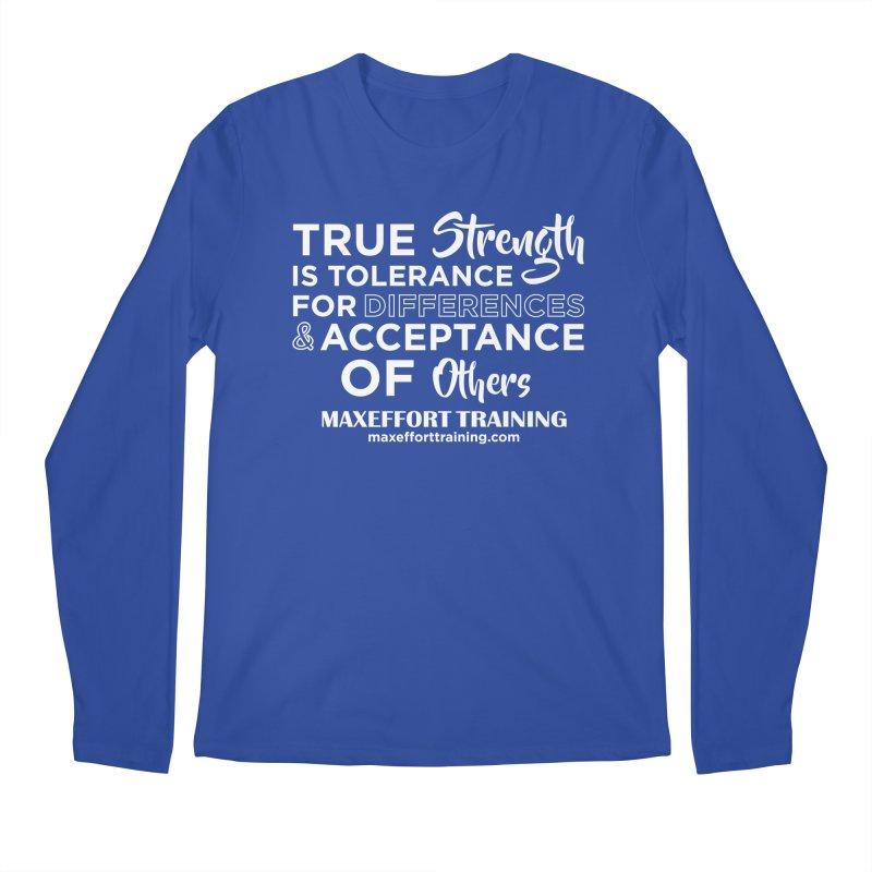 True Strength (White) Men's Regular Longsleeve T-Shirt by Max Effort Training