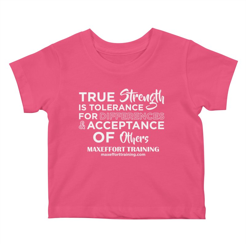 True Strength (White) Kids Baby T-Shirt by Max Effort Training