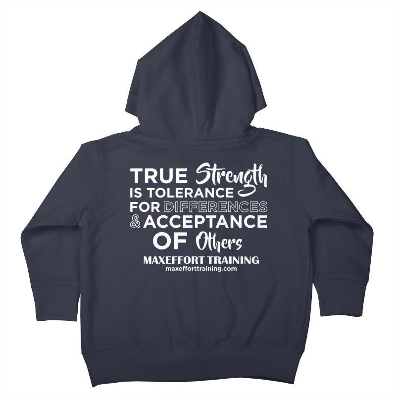 True Strength (White) Kids Toddler Zip-Up Hoody by Max Effort Training