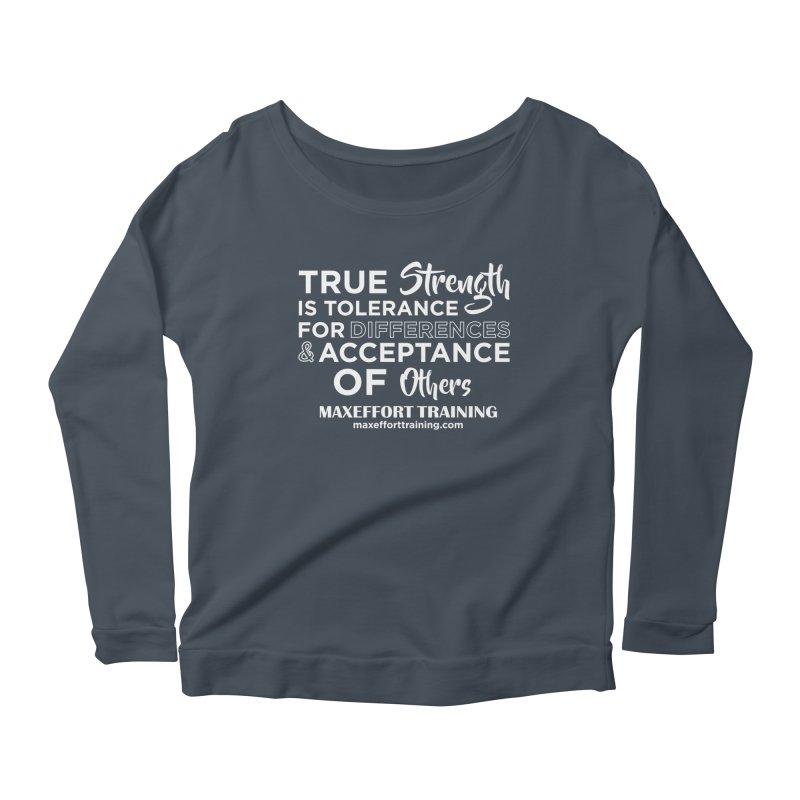 True Strength (White) Women's Scoop Neck Longsleeve T-Shirt by Max Effort Training
