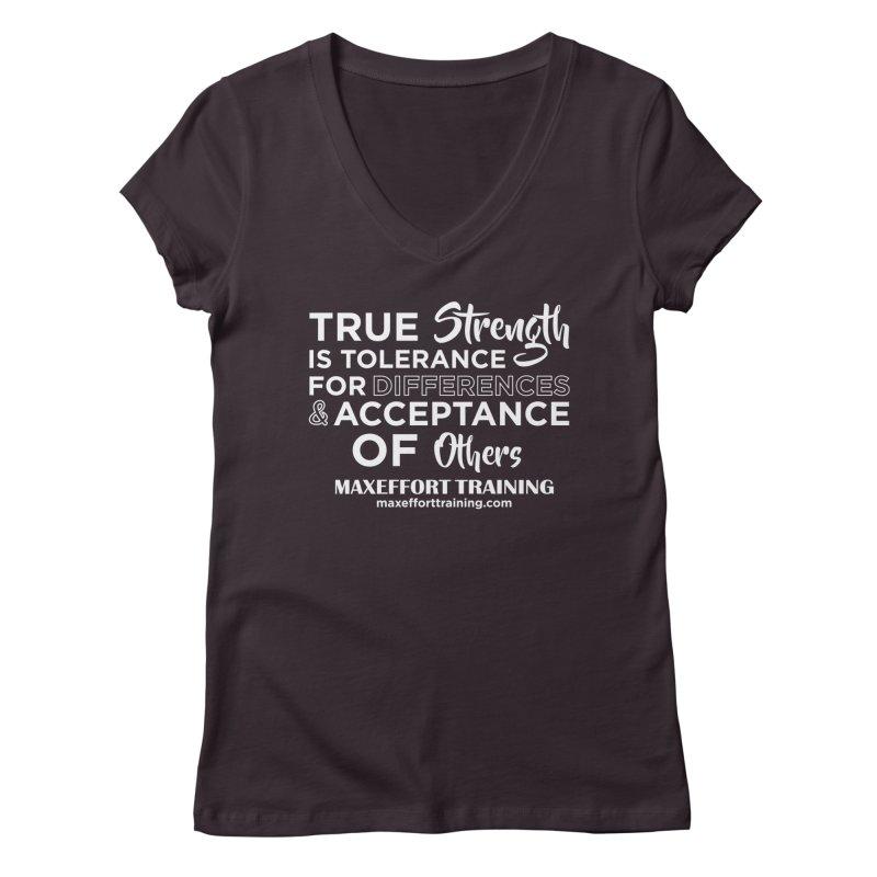 True Strength (White) Women's Regular V-Neck by Max Effort Training