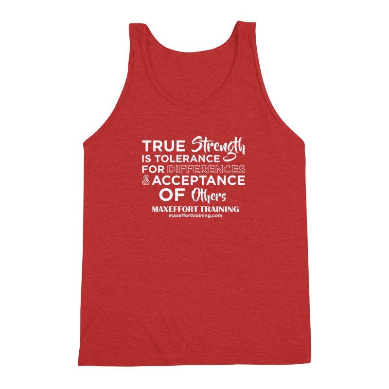 True Strength (White) Men's Triblend Tank by Max Effort Training