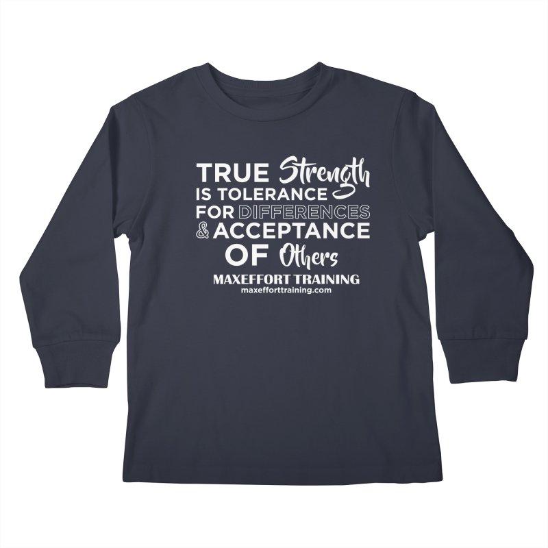 True Strength (White) Kids Longsleeve T-Shirt by Max Effort Training