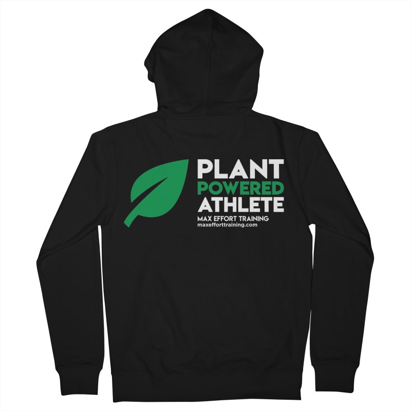 Plant Powered Athlete in Women's French Terry Zip-Up Hoody Black by Max Effort Training