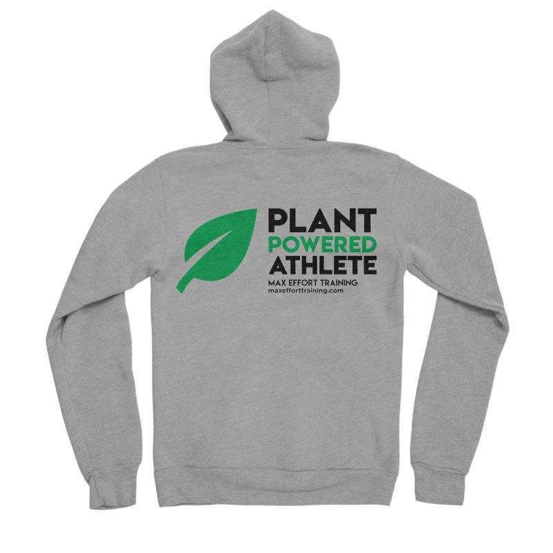 Plant Powered Athlete - Black Men's Sponge Fleece Zip-Up Hoody by Max Effort Training