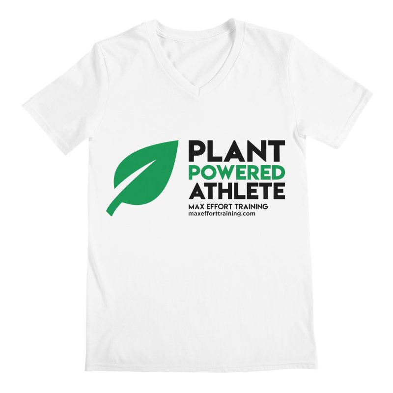 Plant Powered Athlete - Black Men's Regular V-Neck by Max Effort Training