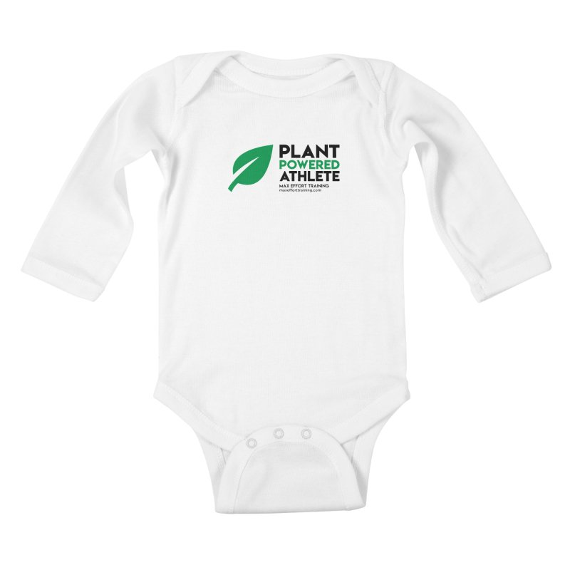Plant Powered Athlete - Black Kids Baby Longsleeve Bodysuit by Max Effort Training