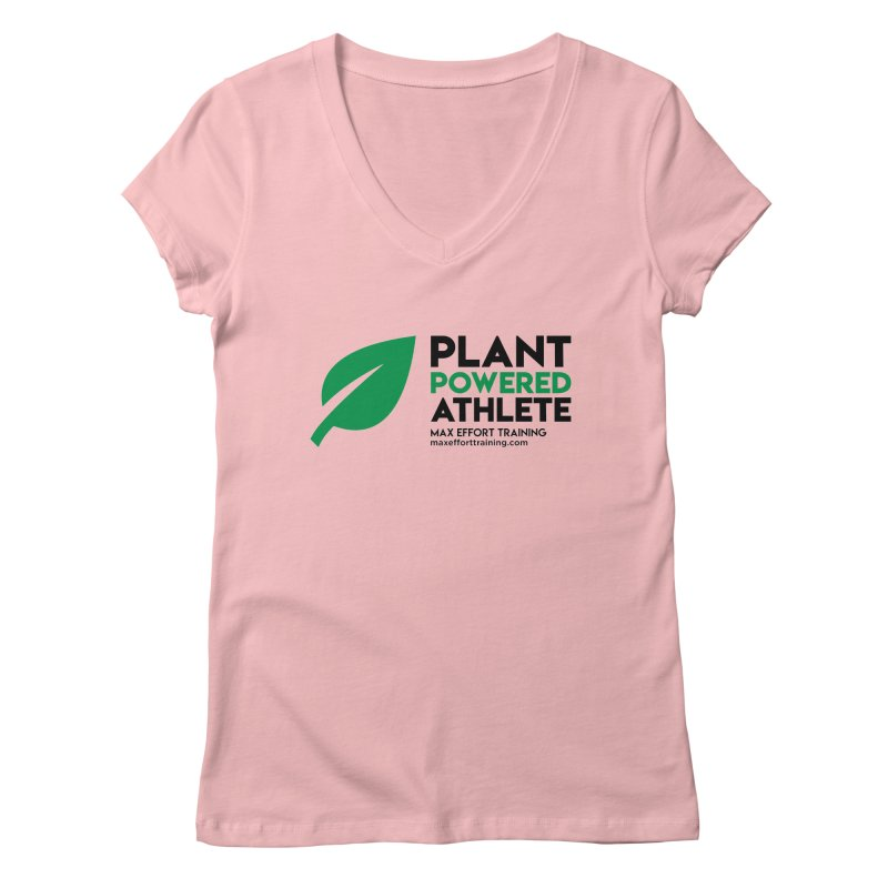 Plant Powered Athlete - Black Women's Regular V-Neck by Max Effort Training