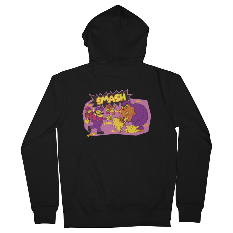 90s ARCADE'' SMASH HEROES Men's French Terry Zip-Up Hoody by UNDEAD MISTER