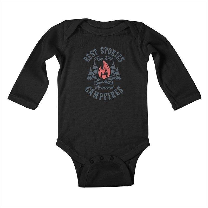 Campfire Stories Kids Baby Longsleeve Bodysuit by MackStudios's Artist Shop