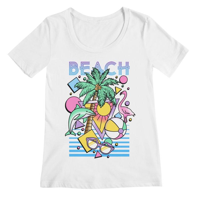 80's Beach  Women's Regular Scoop Neck by MackStudios's Artist Shop