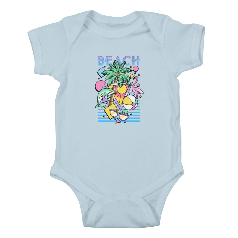 80's Beach  Kids Baby Bodysuit by MackStudios's Artist Shop