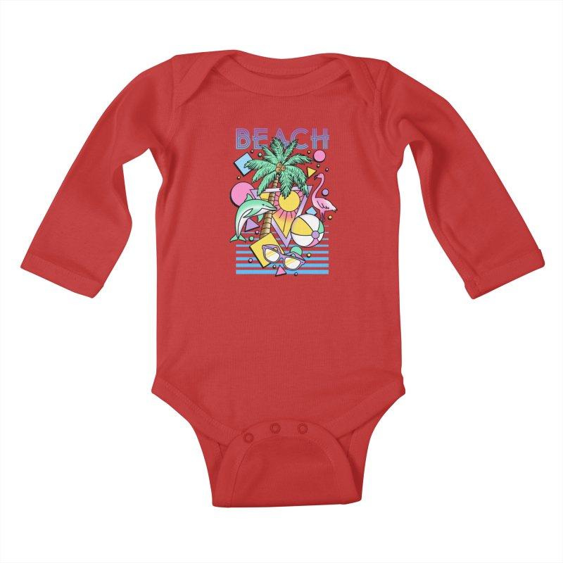 80's Beach  Kids Baby Longsleeve Bodysuit by MackStudios's Artist Shop