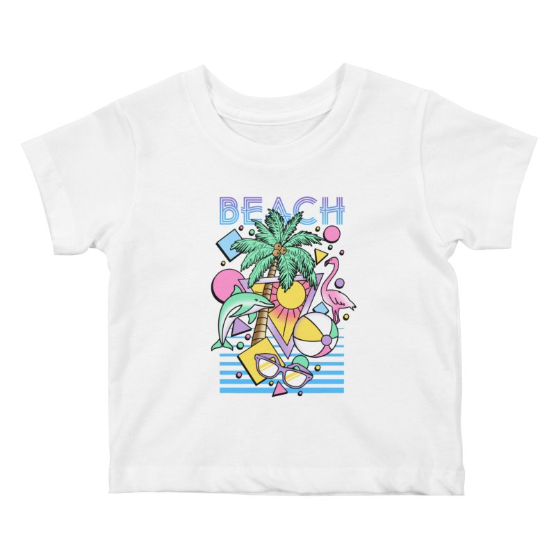 80's Beach  Kids Baby T-Shirt by MackStudios's Artist Shop