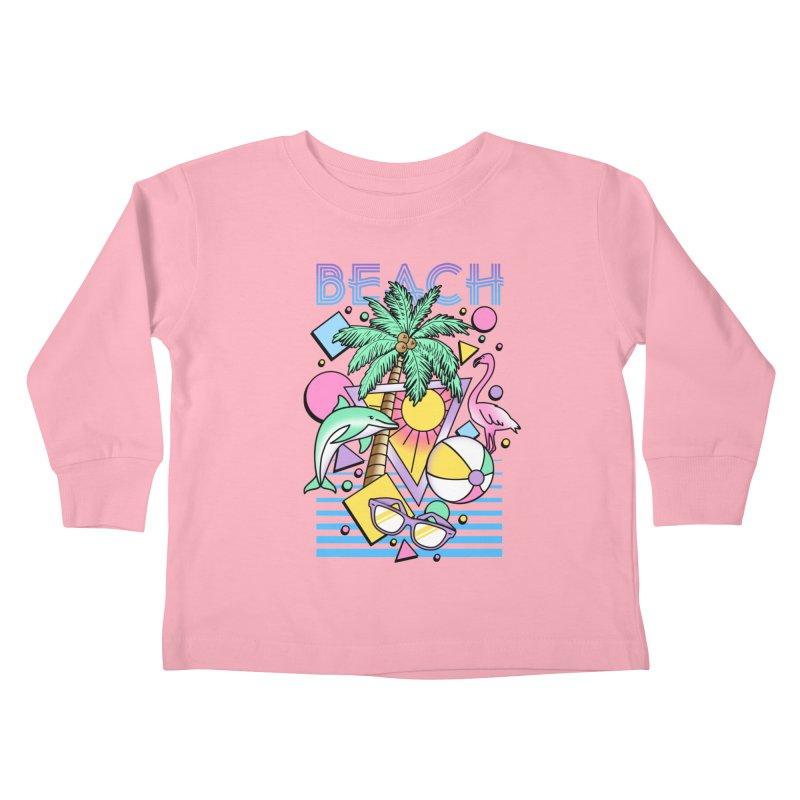 80's Beach  Kids Toddler Longsleeve T-Shirt by MackStudios's Artist Shop