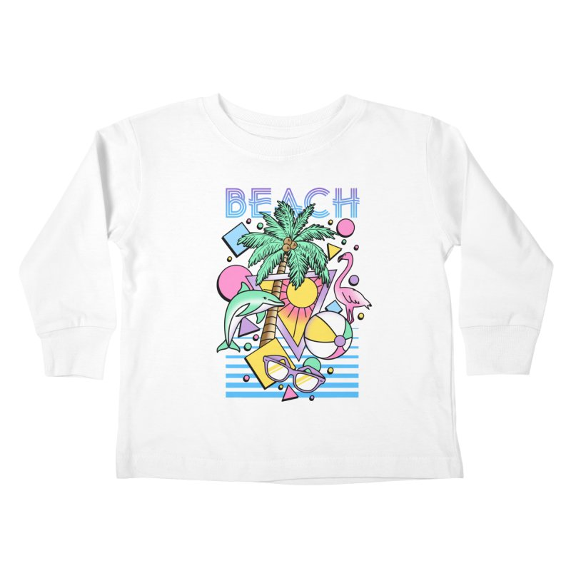 80's Beach  Kids Toddler Longsleeve T-Shirt by MackStudios's Artist Shop