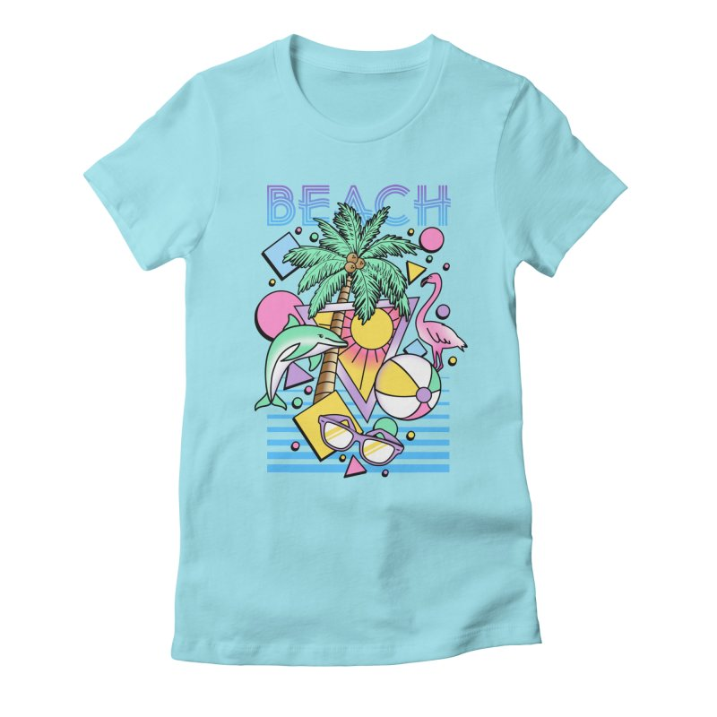 80's Beach  Women's Fitted T-Shirt by MackStudios's Artist Shop