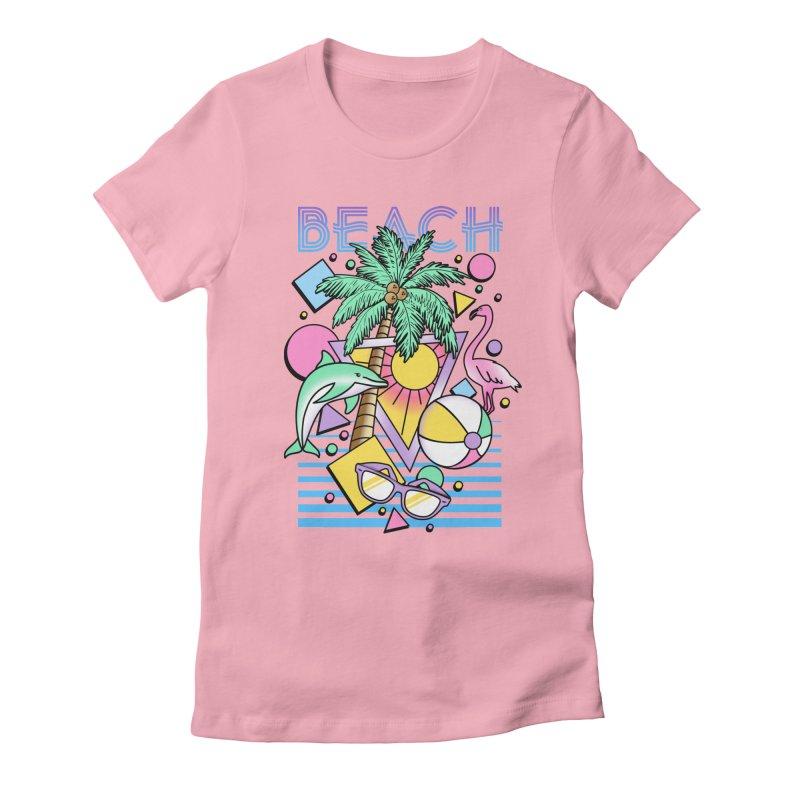 80's Beach  Women's Fitted T-Shirt by MackStudios's Artist Shop