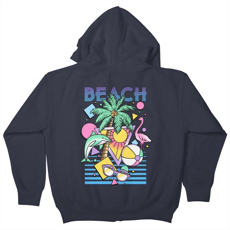 80's Beach  Kids Zip-Up Hoody by MackStudios's Artist Shop